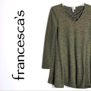 Francesca's Alya Green Long Sleeve Short Dress